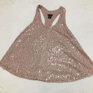 Rue 21 blush pink sequined racer back tank size m